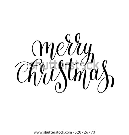 Merry Christmas Black White Handwritten Lettering Stock Vector ...