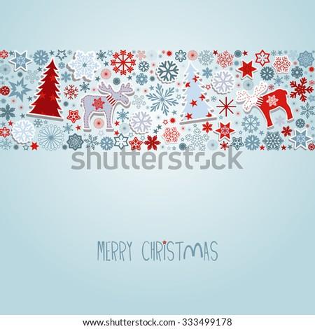 Merry Christmas. Blue Christmas vector elements. - stock vector