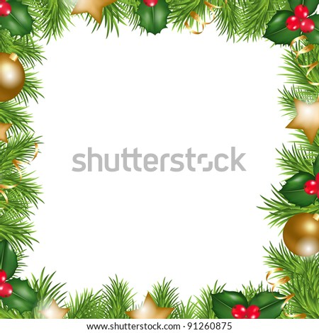 Merry Christmas Border, Isolated On White Background, Vector Illustration - stock vector