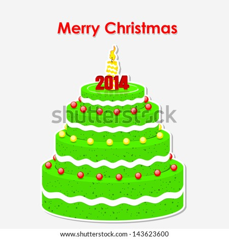 Merry Christmas cake: vector greeting card on a 2014 year