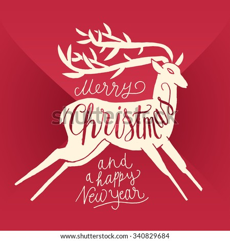 merry christmas  calligraphy. deer sign. envelope background - stock vector