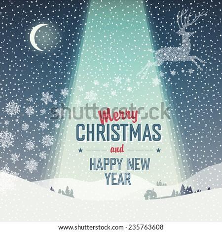 Merry Christmas Card. Calm Winter Scene Illustration - stock vector