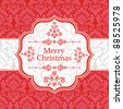 Merry Christmas card.  Christmas seamless  background with  ribbon and label. - stock photo