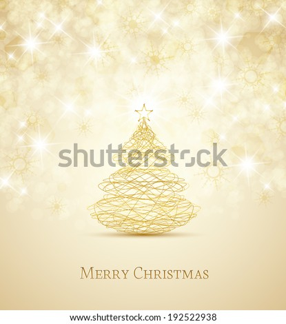Merry Christmas card, Christmas tree and snowflakes - stock vector