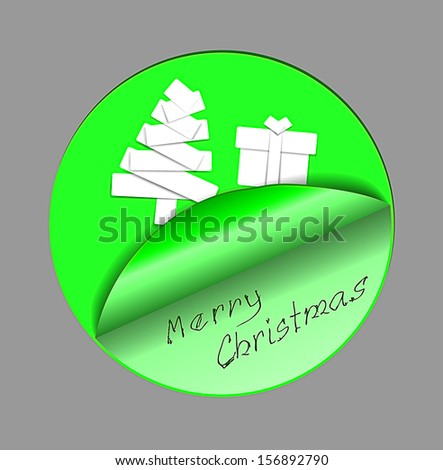 Merry Christmas card created from peeled sticker - stock vector