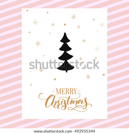 Merry Christmas card design with calligraphy and simple hand drawn tree. Vector template design.