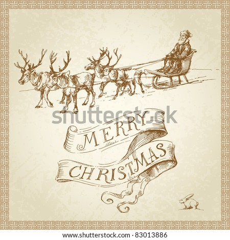 merry christmas card - hand drawn santa - stock vector