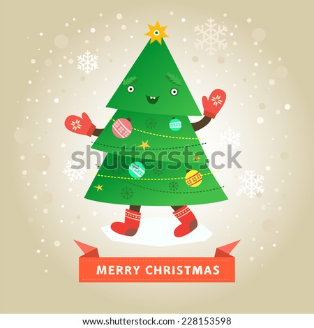 Merry christmas card, happy funny christmas tree character with mittens and boots. Vector colorful illustration in flat design style on light background