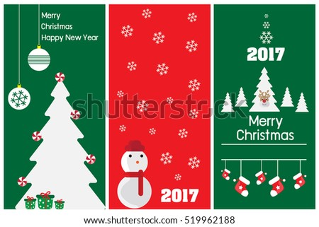 Merry christmas card, Happy new year, Greeting card, Set of christmas vector illustration.
