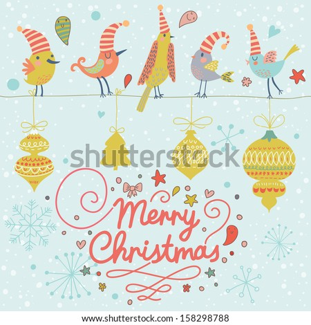 Merry Christmas card in vector. Cute funny birds in holiday concept background with vintage toys - stock vector