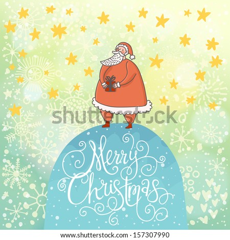 Merry Christmas card in vector. Funny Santa Claus with gift under snowfall made of hearts and stars - stock vector