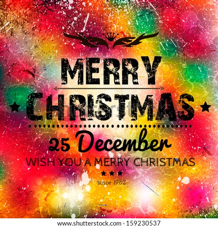 Merry Christmas card on grunge paper with place for your text. Grunge effects can be easily removed for a brand new, clean sign.You can replace with your own text