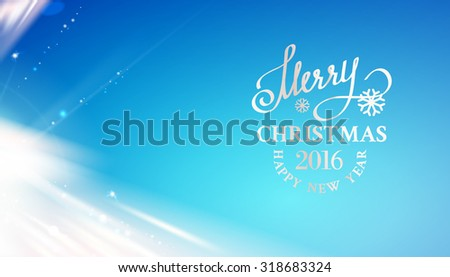 Merry Christmas card over blue sky background with white glow lines. Vector illustration. - stock vector