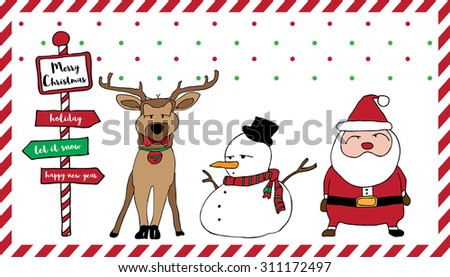 Merry Christmas card pattern with Santa, reindeer, snowman, snow green red and stripe red-white frame