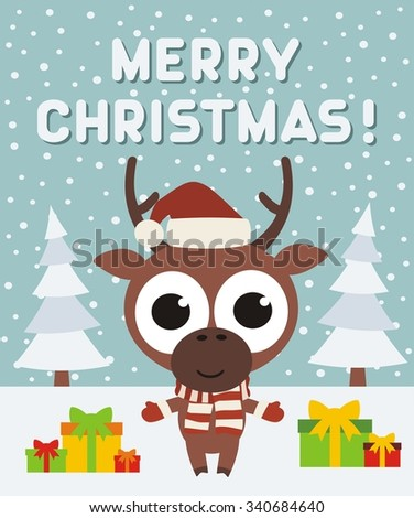 Merry Christmas Card, Rudolph the reindeer with gifts on the background of firs - stock vector