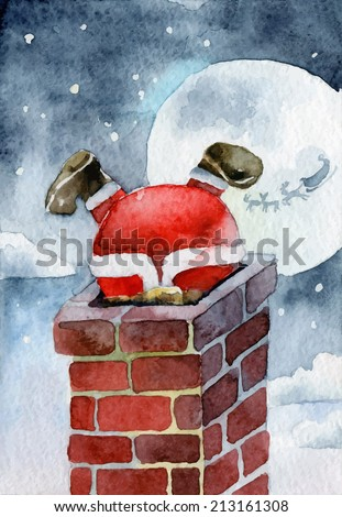Merry Christmas card. Santa Claus stuck in the chimney. Vector illustrations - stock vector