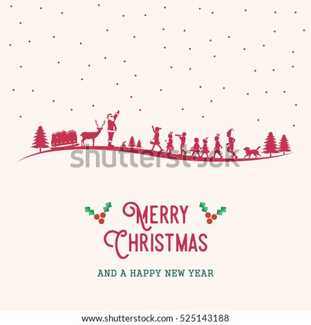 Merry Christmas Card, Silhouette of Santa Claus and children.