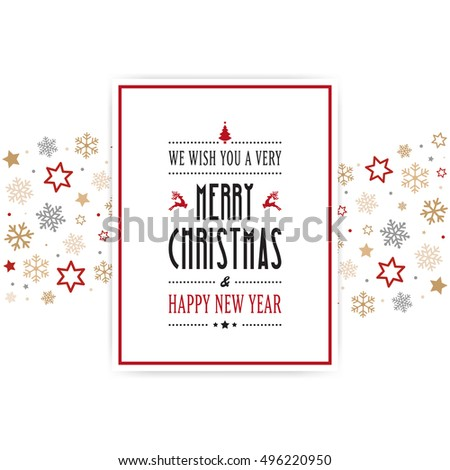 merry christmas card snowflakes stars border background