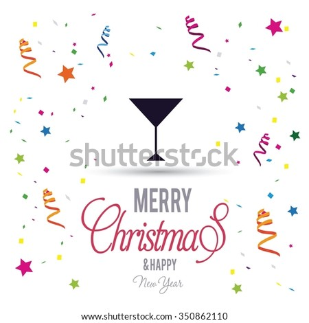 Merry Christmas card, stylized Christmas champagne on decorative background. Happy new year celebration wallpaper. Greeting Card illustration  - stock vector
