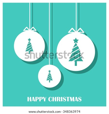 Merry Christmas card, stylized Christmas tree on decorative background. Design elements for holiday cards. Xmas decorated tree icon and website banner template. vector Greeting Card illustration