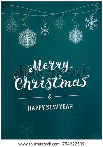 Merry Christmas Card Template Design Script Stock Vector (Royalty ...