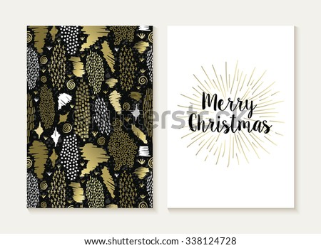 Merry Christmas card template set with retro tribal style seamless pattern and trendy Xmas text in gold metallic color. Ideal for holiday greetings. EPS10 vector. - stock vector