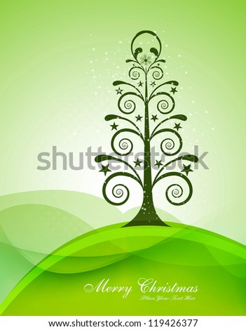 merry christmas card tree green colorful wave vector