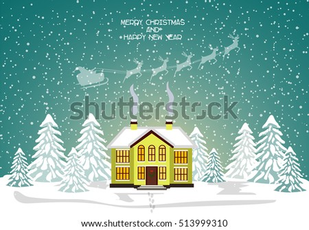 Merry christmas card. Vector illustration. Happy new year