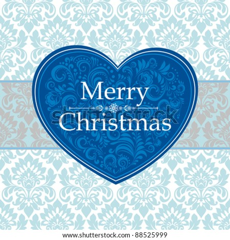 Merry Christmas Card. Vintage label.  Vector seamless  background. Eps 10. - stock vector
