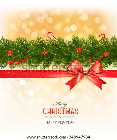 Merry Christmas card with a ribbon and christmas tree branch. Vector