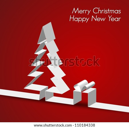 Merry Christmas card with a white tree made from paper stripe - stock vector
