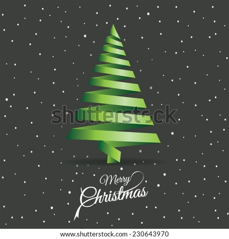 Merry christmas card with abstract christmas tree - stock vector