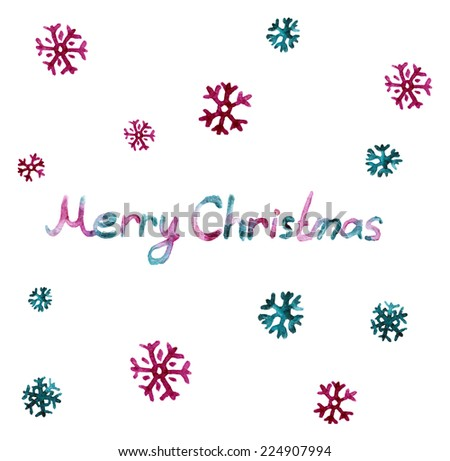 Merry Christmas card with beautiful vector watercolor snowflake. - stock vector
