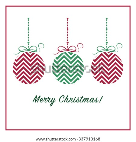 Merry Christmas card with chevron christmas balls