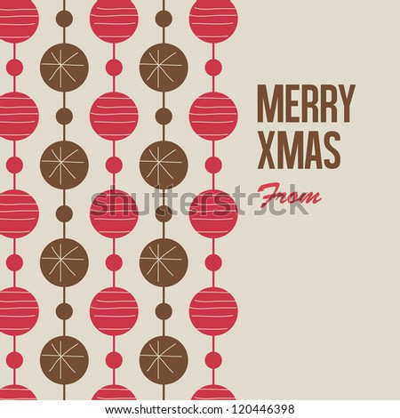 Merry Christmas card with christmas balls - stock vector