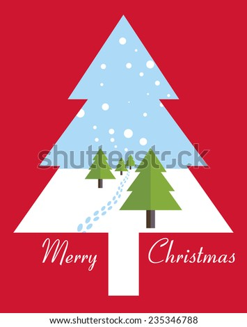 Merry Christmas card with Christmas trees. Vector illustration. - stock vector