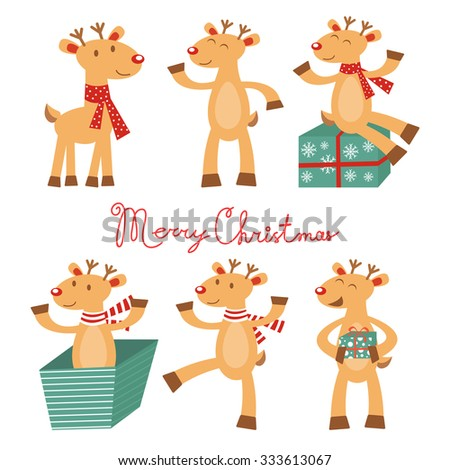 Merry Christmas card with cute reindeers. Vector illustration