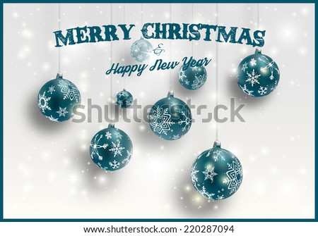 Merry Christmas card with dark green decorated balls, vector illustration.