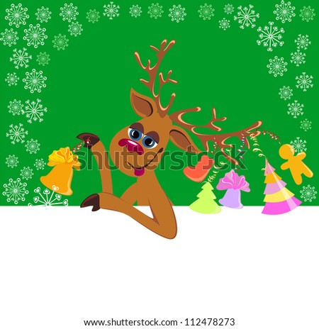 Merry Christmas card with deer and blank paper for your text