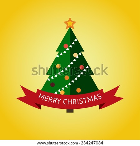 Merry christmas card, with flat christmas tree on yellow background - stock vector