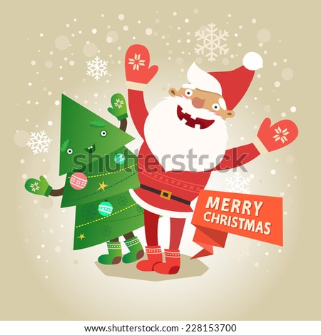 Merry Christmas card with funny Santa Claus, christmas tree and ribbon. Vector colorful illustration in flat design style - stock vector