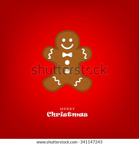Merry Christmas card with gingerbread man