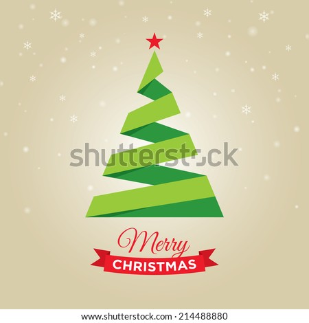 Merry christmas card, with graphic christmas tree, gold background - stock vector