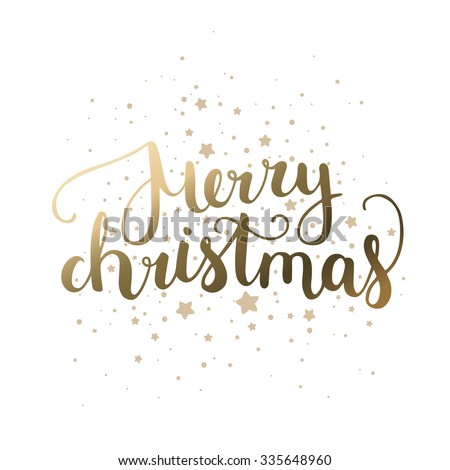 Merry Christmas card with hand drawn lettering and stars on white background. Gold christmas card - stock vector