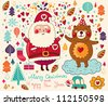 Merry Christmas card with happy Santa Claus and bear - stock vector