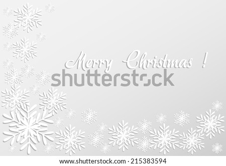 Merry christmas card with paper snowflakes Vector