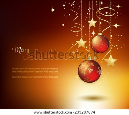 Merry Christmas card with red bauble . Vector illustration. - stock vector