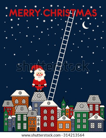 Merry Christmas card with Santa Claus, old town, night sky, stairs on blue background. Greeting card night town illustration design. Old buildings in city. A cartoon style brownstone houses.  - stock vector
