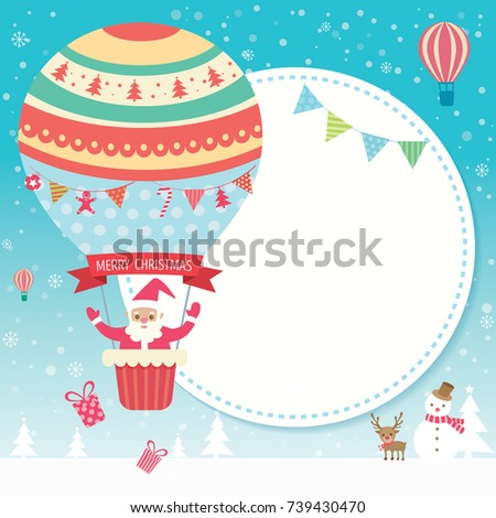 Merry christmas card santa claus on stock vector 739430470 merry christmas card with santa claus on cute hot air balloon on snow background m4hsunfo