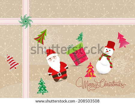 Merry christmas card with santa claus, snowman and gift